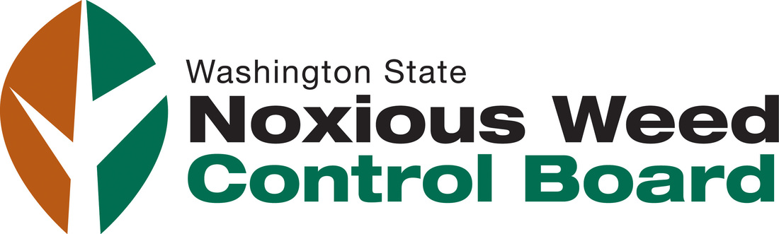 Orange and green leaf logo for Washington State Noxious weed control board